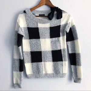 4 for $20 RW&CO Plaid Sweater Shoulder Bow Ribbon